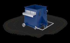 kontejner slouží ke sběru prachů a pilin, k výsypu odpadu slouží výklopná dvířka na dně
