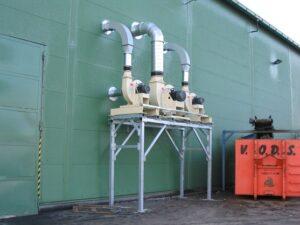 výkonné transportní ventilátory pro transport vzduchu s prachovým podílem